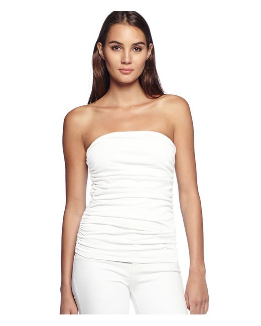 Michael Stars | White Cotton Lycra Shirred Tube Top | Lyst