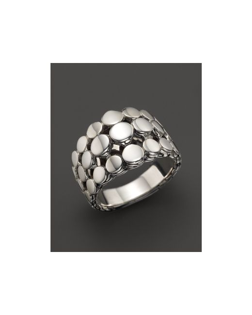 John Hardy | Metallic Dot Silver Three Row Dome Ring | Lyst