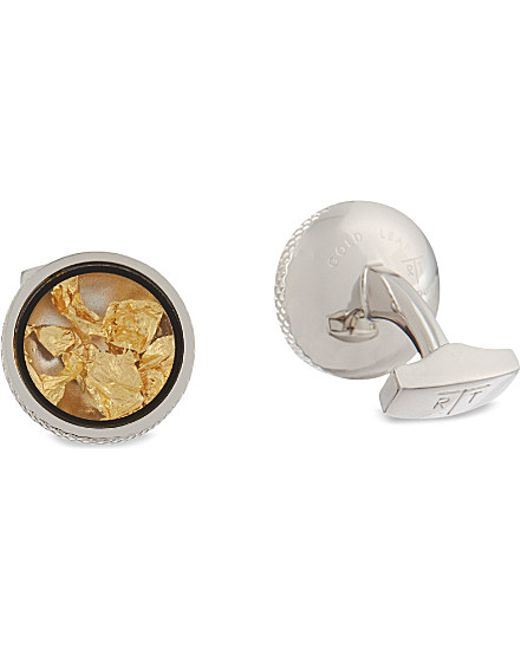 Tateossian | Metallic Gold Leaf Cufflinks And Stud Set - For Men for Men | Lyst