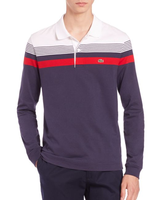 Lacoste Stripe Long Sleeve Polo Shirt In Blue For Men Navy