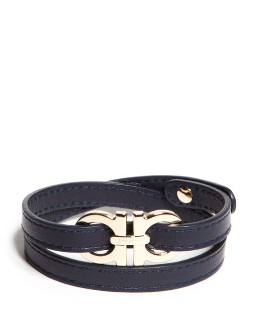 Ferragamo | Blue Double Wrap Double Gancini Bracelet for Men | Lyst