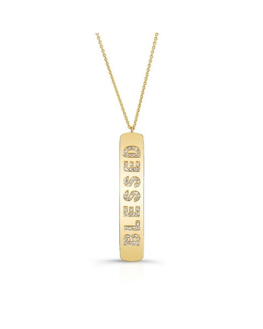 Anne Sisteron | 14kt Yellow Gold Diamond Blessed Tag Necklace | Lyst