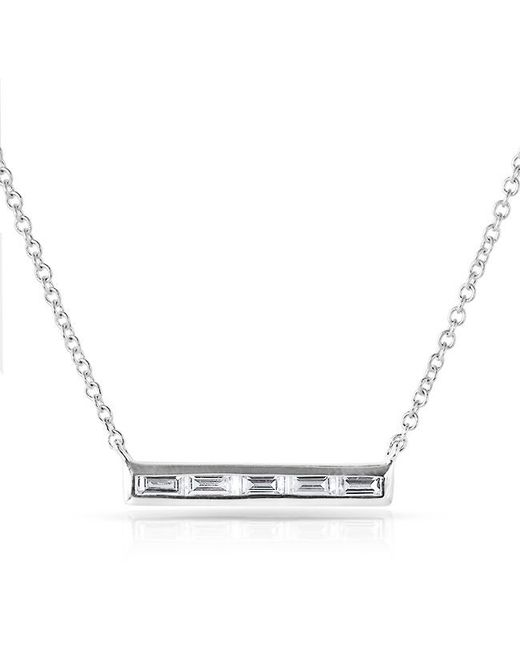 Anne Sisteron | Metallic 14kt White Gold Baguette Diamond Short Bar Necklace | Lyst