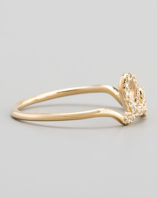 Sydney Evan | Metallic 14k Yellow Gold Diamond Love Script Ring | Lyst