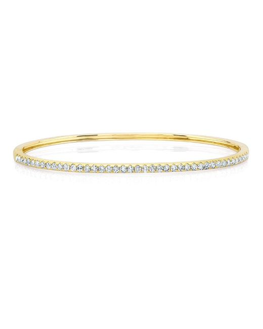 Anne Sisteron | Metallic 14kt Yellow Gold Half Diamond Bangle Bracelet | Lyst