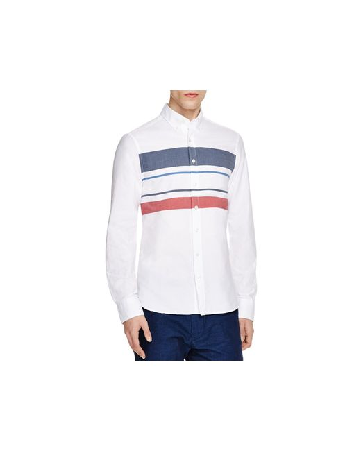 Gant spinnaker stripe slim fit button down shirt in white for Red and white striped button down shirt