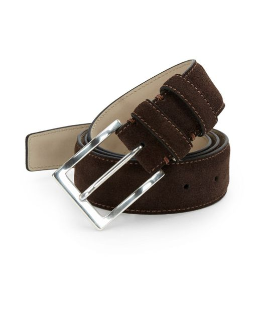 hickey freeman suede pin buckle belt in brown for