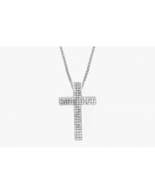 Tateossian   Metallic Precious Cross Micro Pavé Necklaces In Silver With 105 0.32ct White Diamonds for Men   Lyst