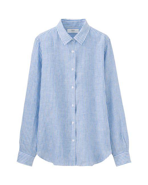 Uniqlo Women Premium Linen Patterned Long Sleeve Shirt In