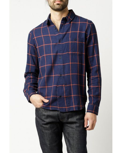 Native Youth Grid Check Shirt In Orange For Men Navy