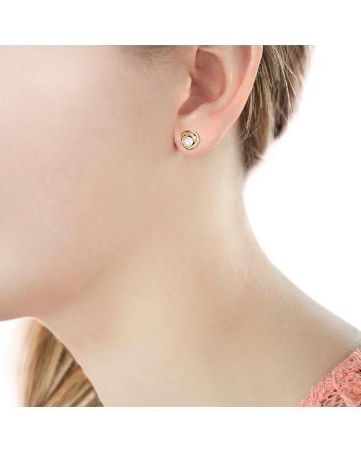 Ib&b | Metallic 9ct Gold Cultured Pearl Knot Stud Earrings | Lyst