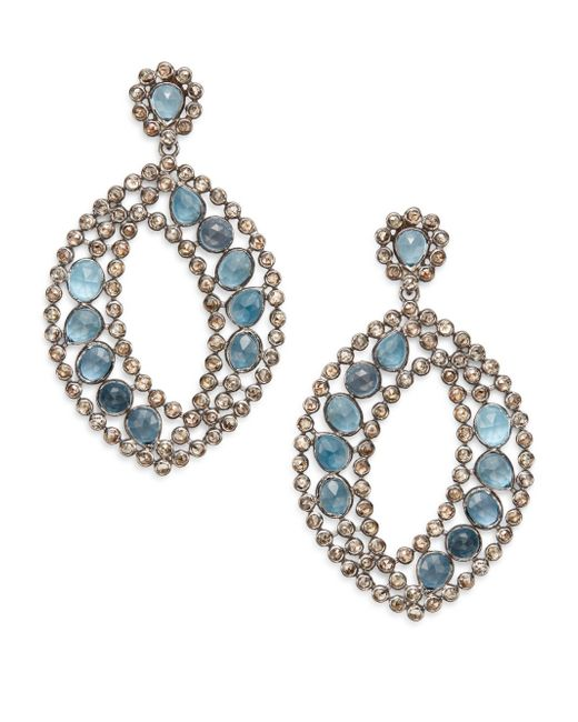 Bavna | Metallic Pavà Champagne Diamond, London Blue Topaz & Sterling Silver Marquis Drop Earrings | Lyst