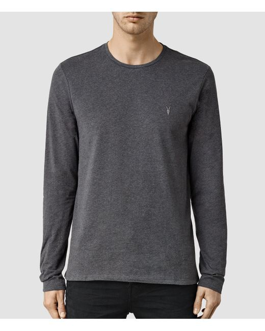 AllSaints   Gray Brace Long Sleeve Tonic Crew T-shirt for Men   Lyst