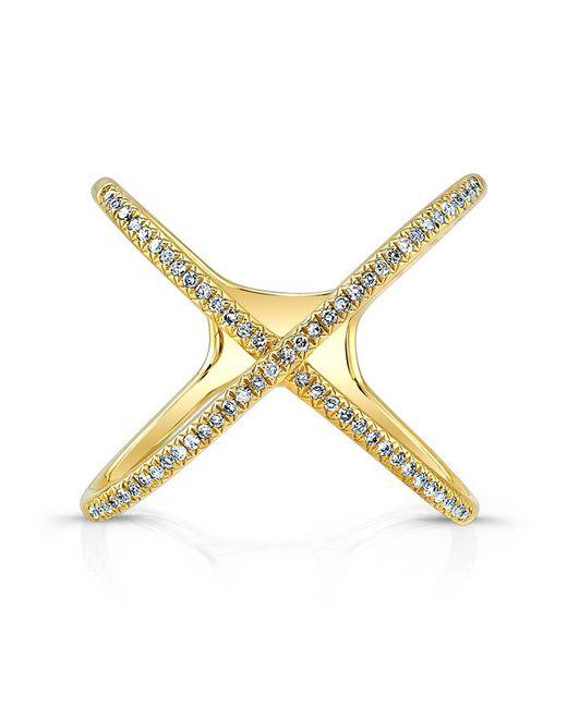 Anne Sisteron | Metallic 14kt Yellow Gold Diamond X Ring | Lyst