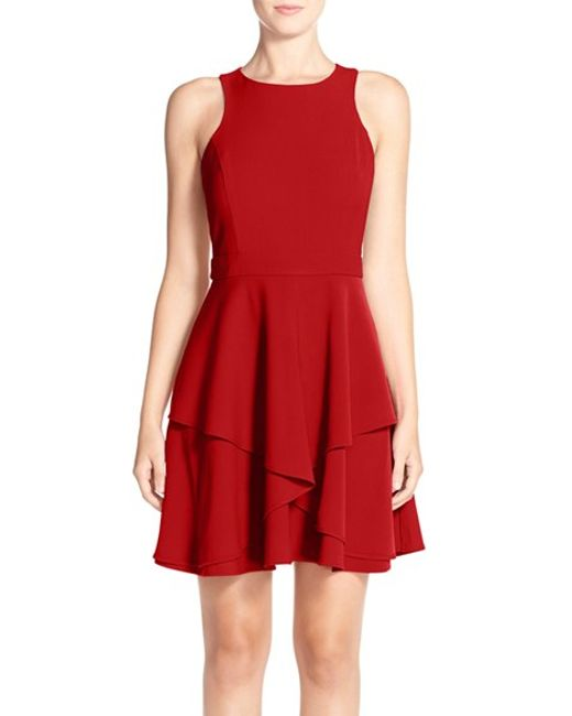 Adelyn Rae | Red Gabardine Fit & Flare Dress | Lyst