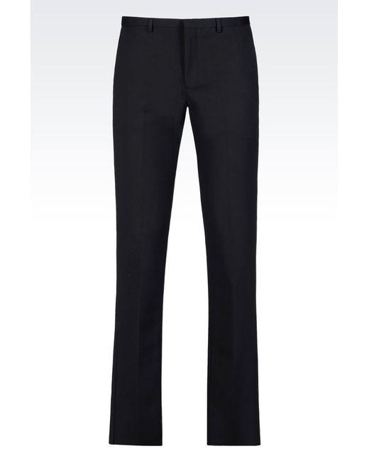 Emporio Armani | Blue Trousers In Stretch Cotton Satin for Men | Lyst