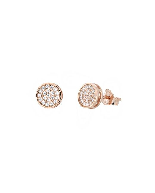 Azendi | Pink 18ct Rose Gold Vermeil Pavé Stud Earrings | Lyst