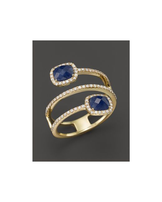 Meira T | Metallic 14k Yellow Gold Blue Sapphire Triple Row Ring With Diamonds | Lyst