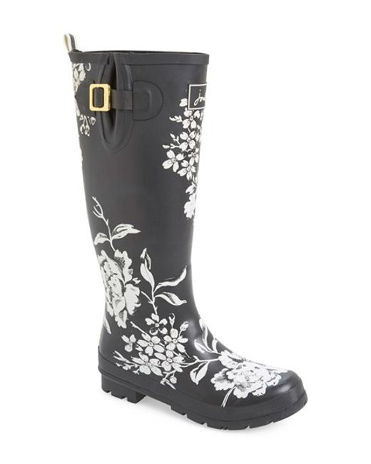 Joules Welly Print Rain Boot In Floral Black Floral Lyst
