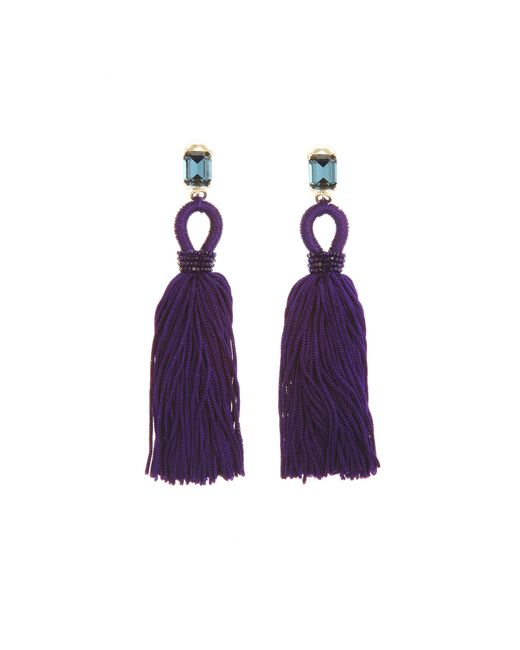 Oscar de la Renta | Blue Long Silk Tassel Earrings | Lyst