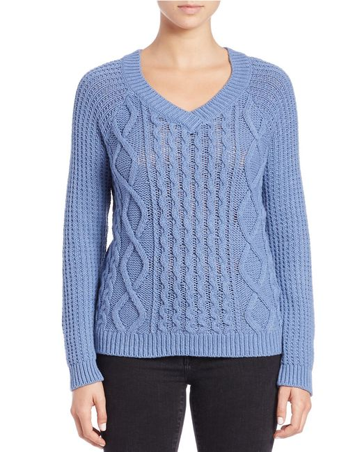 Lord & Taylor | Blue Cable Knit Sweater | Lyst