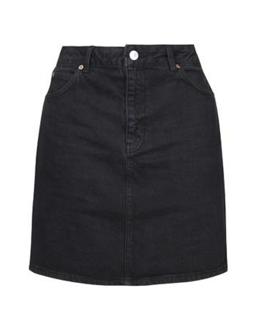 topshop moto high waisted denim skirt in black lyst