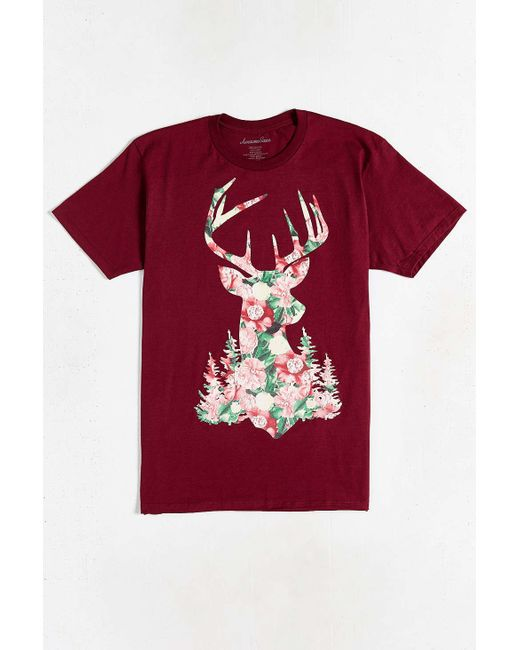 Urban Outfitters | Purple Stag Floral Tee for Men | Lyst