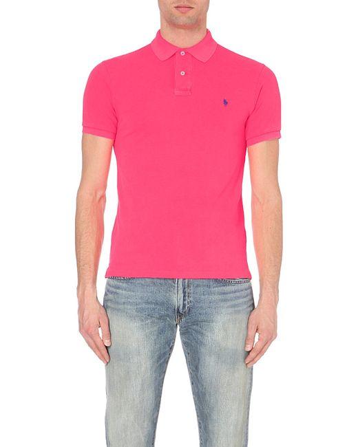 Polo Ralph Lauren | Pink Slim-fit Cotton-piqué Polo Shirt for Men | Lyst