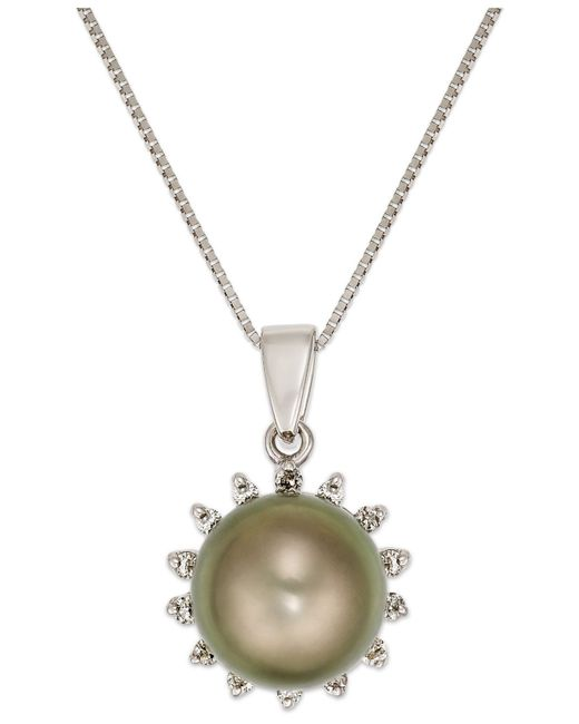 Macy's | Green Tahitian Pearl (8mm) And Diamond (1/10 Ct. T.w.) Pendant Necklace In 14k White Gold | Lyst