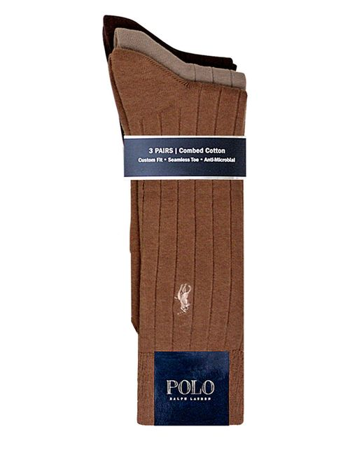 Polo Ralph Lauren | Brown 3-pack Ribbed Dress Socks for Men | Lyst