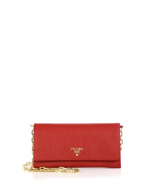 Prada | Red Saffiano Leather Chain Wallet | Lyst