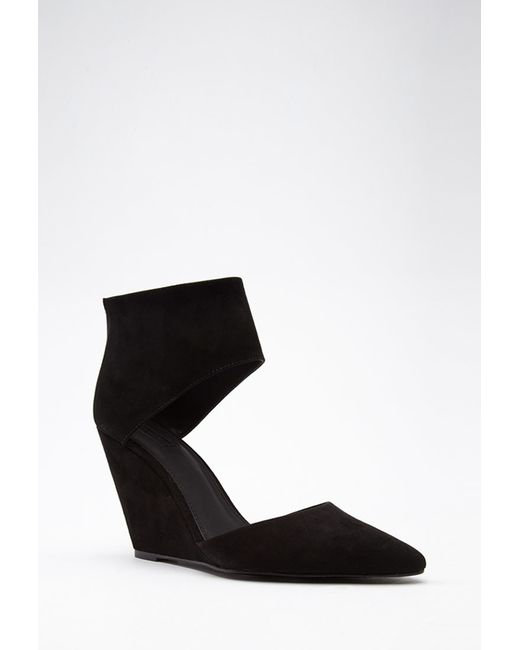 Forever 21 | Black Pointed Cutout Faux Suede Wedges | Lyst