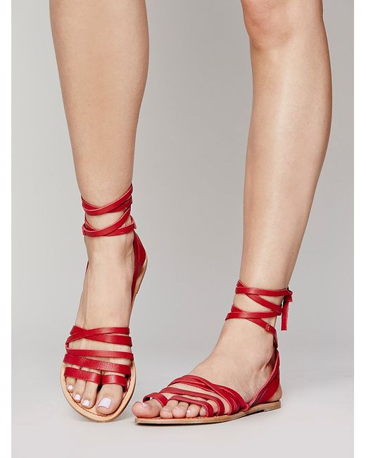 Free People Harpoon Wrap Sandal In Red Red Rouge Lyst