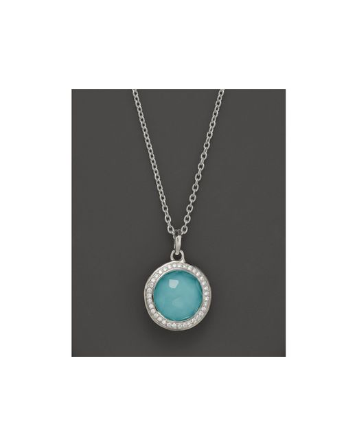 Ippolita | Metallic Sterling Silver Stella Lollipop Pendant Necklace In Turquoise Doublet With Diamonds, 16"