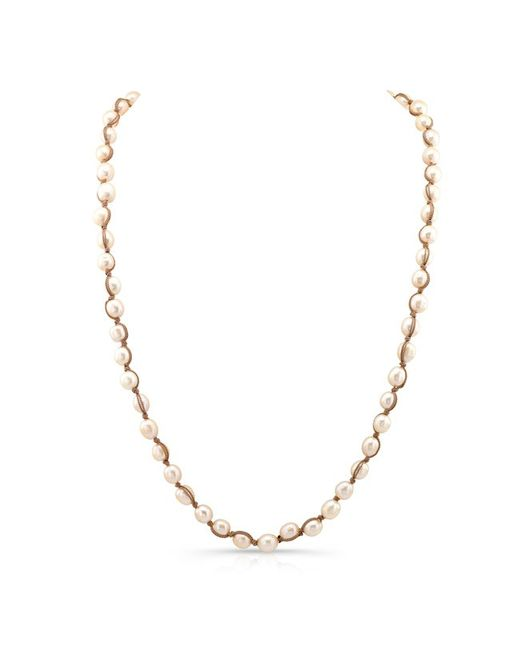 Anne Sisteron - Metallic Champagne Pearl Macrame Necklace - Lyst