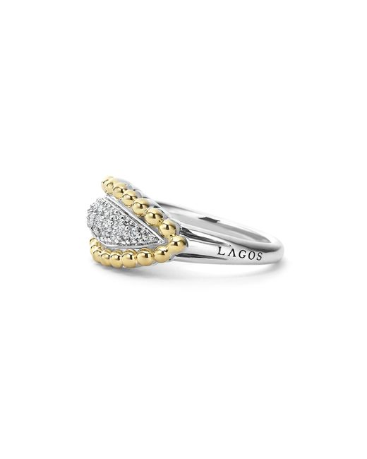 Lagos | Metallic Sterling Silver And 18k Gold Caviar Beaded Ring With Diamonds | Lyst
