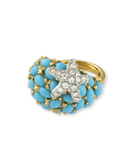Kenneth Jay Lane | Blue Turquoise And Crystal Starfish Ring | Lyst