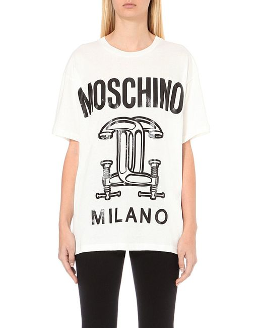Moschino | White Capsule-print Oversized Cotton-jersey T-shirt | Lyst