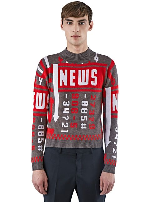 J.W.Anderson | Red 'news' Jumper for Men | Lyst