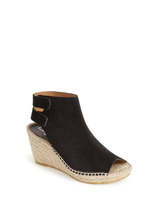 Bettye Muller | Black 'download' Suede Wedge Espadrille Sandal | Lyst