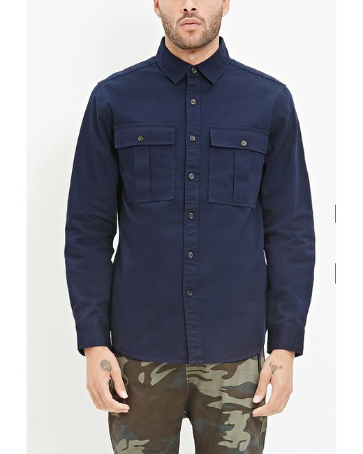 Forever 21 | Blue Two-pocket Cotton Shirt for Men | Lyst