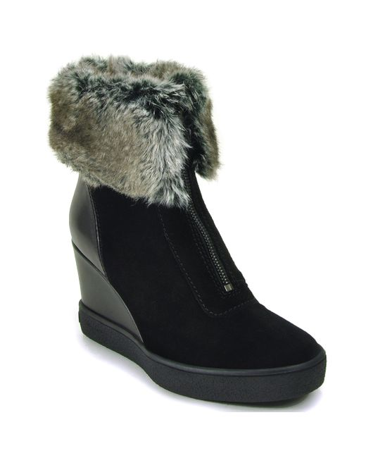 aquatalia carlie suede wedge boots in black save 38 lyst