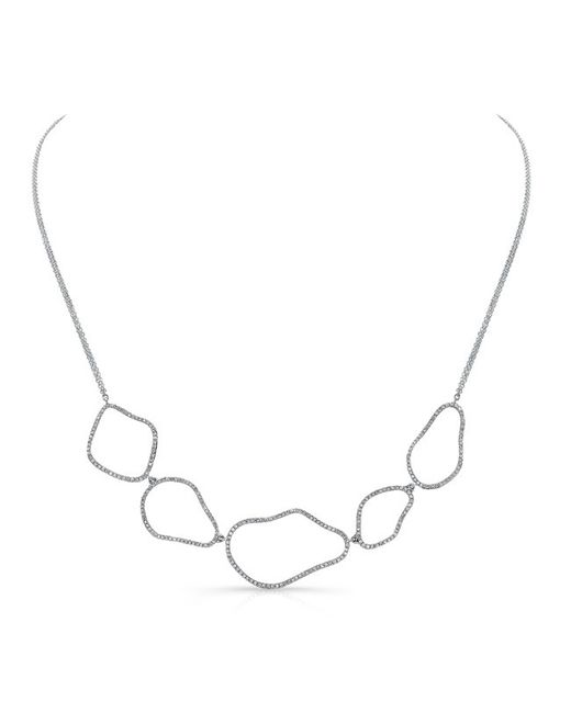 Anne Sisteron | Metallic 14kt White Gold Diamond Organic Shape Necklace | Lyst