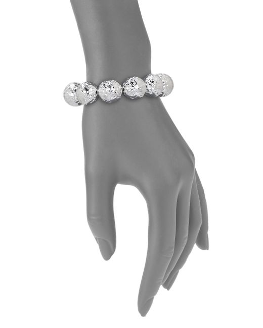 Nest | Metallic Hammered Beaded Stretch Bracelet | Lyst