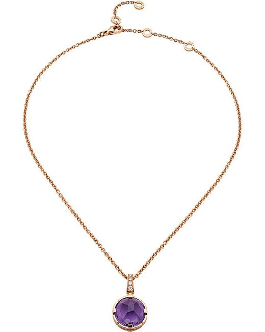 BVLGARI | Purple Parentesi Cocktail 18kt Pink-gold And Diamond Necklace | Lyst