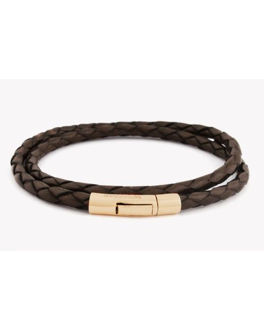 Tateossian   Double Wrap Scoubidou Brown Leather Bracelet With 18k Yellow Gold Clasp for Men   Lyst