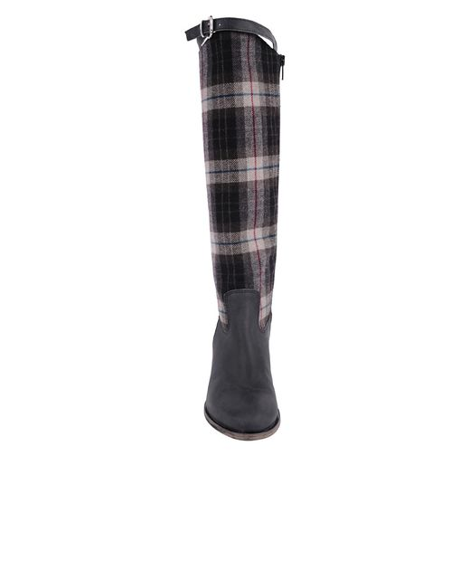Charles David | Black Gentry Plaid Flat Riding Boot | Lyst