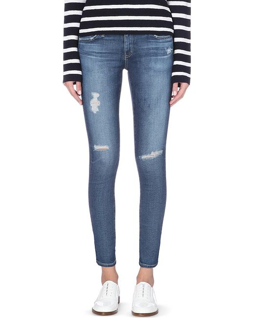 AG Jeans | Blue Skinny Mid-rise Cropped Jeans | Lyst