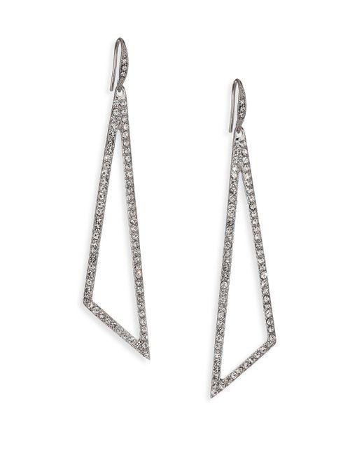 ABS By Allen Schwartz | Metallic Openwork Pave Linear Drop Earrings | Lyst