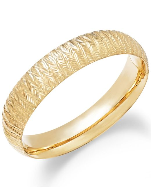 Macy's | Metallic Chevron-cut Bangle Bracelet In 14k Gold | Lyst
